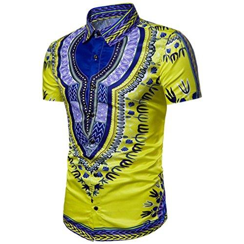 VENMO Mode Herren Ethnic Style Beach Short-Sleeved Shirt/Hipster Hip Hop Bluse/Afrikanische Grafik-Spitzenhemden/Retro afrikanisch Tradition Festival Kleidung/V-Ausschnitt Tops Hemd