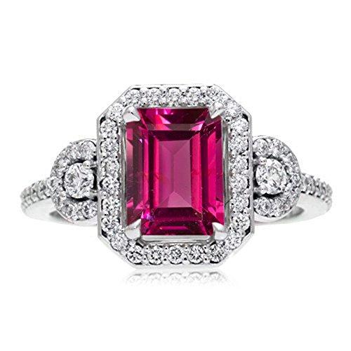 Vorra Fashion - Sterling-Silber 925 Smaragdschliff Pink