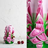Decorative Carved Candle Premium Pink Green Handmade - Birthday for Dad and Women Gift - EveCandles