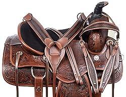"professional Acerugs 15 ""16″ 17 ""18″ Western Leather Touring RANCHING Pleasure Horse Saddle Tuck Set Premium (16)"