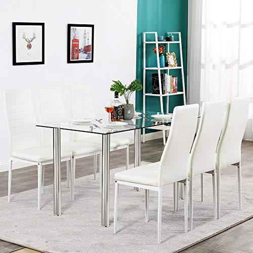 Hapeisy Mesa de comedor de cristal, moderna mesa de comedor con patas redondas de acero inoxidable, para comedor, cocina, puede acomodar a seis personas (52.76 x 27.56 x 29.53 pulgadas)