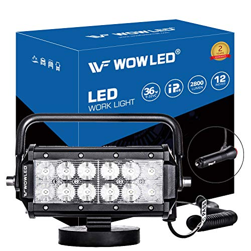 WOWLED 36W LED Work Light Magnetic Base Mount Portable LED Light Flood for Car SUV Boat Bar Jeep Driving Lamp Fog Lights