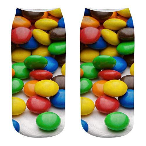 NKJBUVT Calcetines De Impresión 3D De Material De Caramelo Calcetines De Impresión 3D De Lollipop