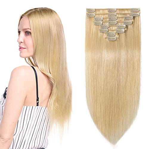 Clip in Hair Extensions Human Hair Full Head 8 Pieces 18 Clips 100% Real Silky Human Hair 24