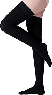 Thigh High Compression Stockings, Closed Toe, Firm Support 20-30 mmHg Gradient Compression Socks with Silicone Band, Opaque, Best for Treatment Swelling, Varicose Veins, Edema, Pregnancy, Black M