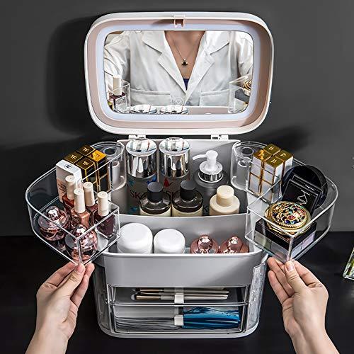 YUDIZWS Organizador de cajones de Maquillaje de Caja de Almacenamiento cosmético portátil con Espejo y luz, Gran Capacidad Impermeable a Prueba de Agua y exhibición de Joyas a Prueba de Polvo,Gris