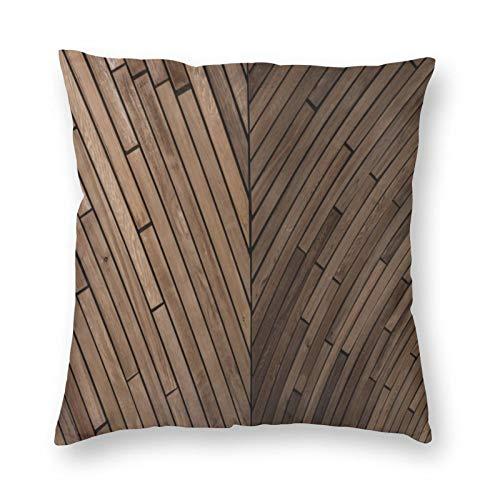 FULIYA Juego de 1 funda de cojín decorativa de lino de algodón suave de 45 x 45 cm, fundas de almohada para sofá, salón, parquet, textura, madera, superficie, color marrón
