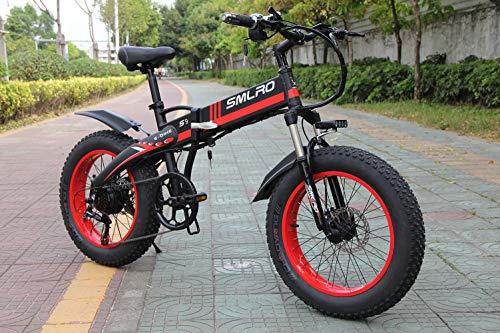 SMLRO R9 Vélo Électrique Pliable 20 Pouces 500 w 48 v 10ah Batterie Détachable Ville Commuter Bike Vélo de Montagne Électrique (Rouge)