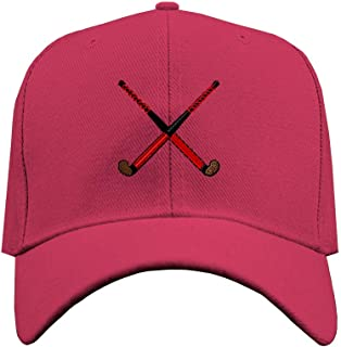 Custom Baseball Hat Sport Field Hockey Stick Embroidery Team Structured Cap