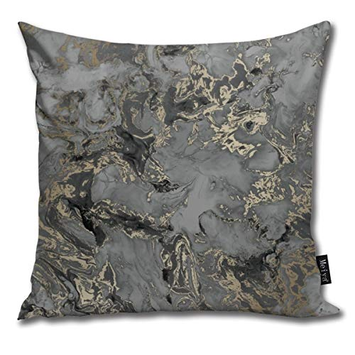 nonebrand Liquid marble charcoal gold Cushion Covers Home Decorative Throw Pillowcases for Livingroom Sofa Bedroom Car 18X18inch