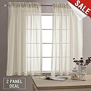 jinchan Sheer Curtains for Living Room 63 inches Long Bedroom Sheer Curtain Panels Rod Pocket Voile Window Curtain Set 2 Panels Nature