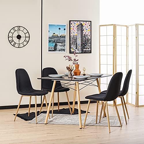 Furnish 1 Set mit 4 Stühlen für Esszimmer, skandinavischer Look, Stoff, Velours, Fuß aus Metall, Farbe: Eiche, Schlafzimmer, Büro, Wohnzimmer