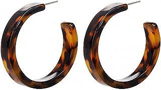 Minimalist Round Circle Earrings Women Acrylic Resin Hoop Earring Leopard Open Hoops Earring