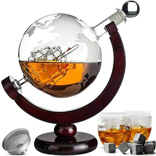 Whiskey Karaf Set - Decanteerkaraf 900 ml - 8 Whisky Stones - Schenktuit - Wereldbol - Whisiskey®