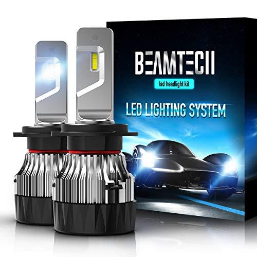BEAMTECH H7 LED Headlight Bulb,30mm Heatsink Base CSP Chips 10000 Lumens 6500K Xenon White Extremely Super Bright Conversion Kit of 2