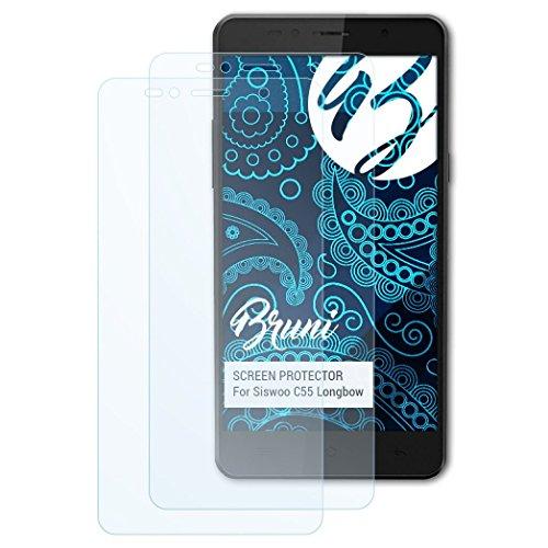 Bruni Schutzfolie kompatibel mit Siswoo C55 Longbow Folie, glasklare Displayschutzfolie (2X)