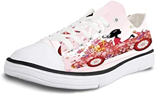 K0k2t0 Canvas Sneaker Low Top Shoes,Cars,Front View of a Fire Car Speeding Hot Flames on Abstract Backdrop Concept Design Decorative