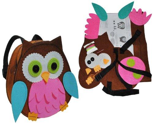 alles-meine.de GmbH Bastelset:  lustige Eule  - Rucksack - Filztasche zum Sticken, Nähen per Hand - Kinderrucksack Filz Eulen blau - Tasche Handarbeiten Filz erstes Nähen Handa..