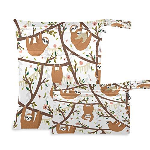 F17 - 2 bolsas húmedas secas con hojas de flores y perezosos para pañales, impermeables, reutilizables para viajes, natación, playa, cochecito, ropa de gimnasio sucio