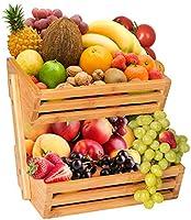 JingPeng 2-Tier Bamboo Fruit Basket, Bread Storage Stand, Vegetable Rack, Countertop Basket Bowl Holder Tray for Fruit,...