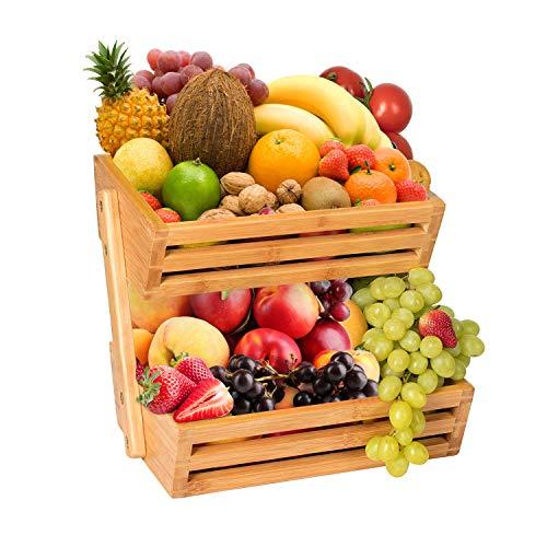 Hossejoy, cesto per frutta in bambù, 2 livelli, cestino da portata per frutta e spuntini, perfetto per frutta, verdura, snack, oggetti domestici e molto altro ancora.