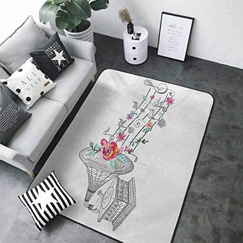 """Anti-Slip Coffee Table Floor Mats Music,Vintage Style Gramophone Record Player with Floral Ornament Blossom Antique,Grey Black White 80""""x 120"""" Best Floor mats"""