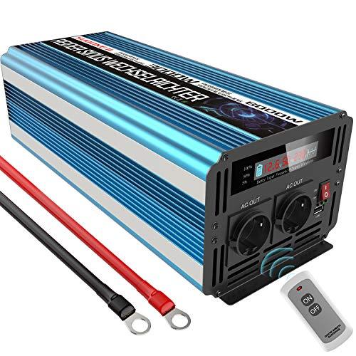 Convertisseur 12v 220v Pur Sinus 3000W Convertisseur de Tension 12 V DC vers 230 V/240 V AC Convertisseur 2 AC avec Un Port USB et Deux Ventilateurs de Refroidissement Puissance maximale 6000 W