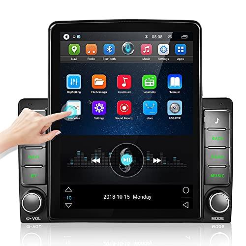 podofo 9,5 Inch Android 10.0 GPS Autoradio Stereo Touchscreen Verticale, 2 Din Lettore per Auto Audio con Bluetooth WiFi Radio FM Collegamento Specchio Android/IOS Ingresso USB + Telecamera Backup