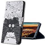 MRSTER Huawei Y7 2019 Hülle Leder, Langlebig Leichtes Klassisches Design Flip Wallet Hülle PU-Leder Schutzhülle Brieftasche Handyhülle für Huawei Y7 2019. HX Cute Totoro