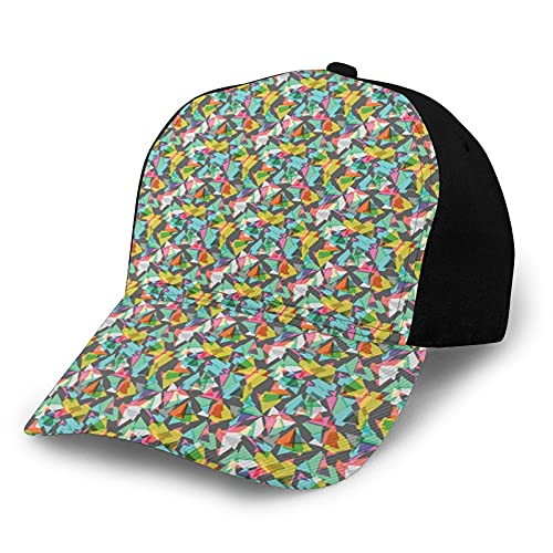 FULIYA Gorra de béisbol unisex con borde curvado y contemporáneo complejo geométrico fractal psicodélico poli hipster infantil gráfico de poliéster tela de tela de Papá sombrero de béisbol