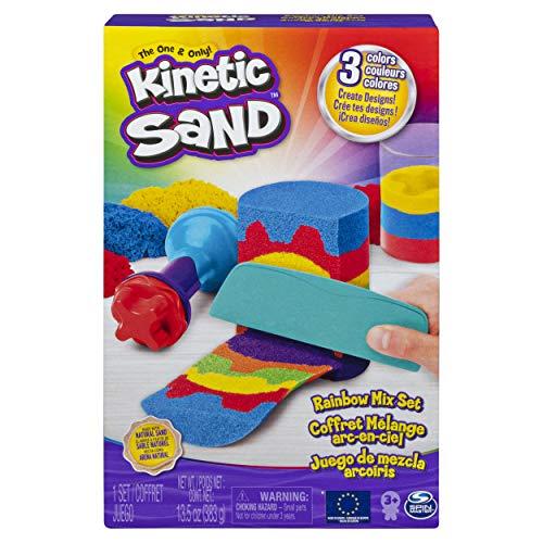 Kinetic Sand Set Sabbie Arcobaleno, con 3 Colori di Sabbia, 382 g, e 6 Attrezzi, dai 3 Anni, 6053691