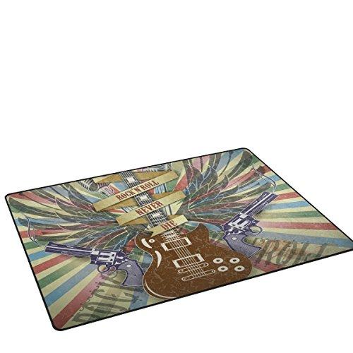 coosun Rock n Roll Symbol Gitarre Retro-Stil Hintergrund Bereich Teppich Teppich rutschfeste Fußmatte Fußmatten für Wohnzimmer Schlafzimmer 152,4x 99,1cm, Textil, multi, 60 x 39 inch