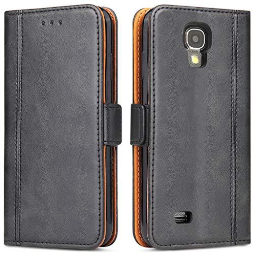 Bozon Galaxy S4 Hülle, Leder Tasche Handyhülle Flip Wallet Schutzhülle für Samsung Galaxy S4 mit Ständer und Kartenfächer/Magnetverschluss (Schwarz-Grau)