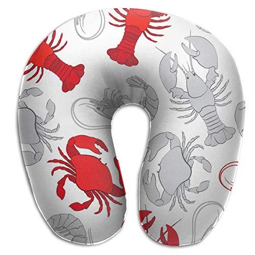 Almohada para el Cuello Mariscos Langosta Cangrejo y gambas Almohada de Viaje en Forma de U Diseño ergonómico Contorneado Funda Lavable
