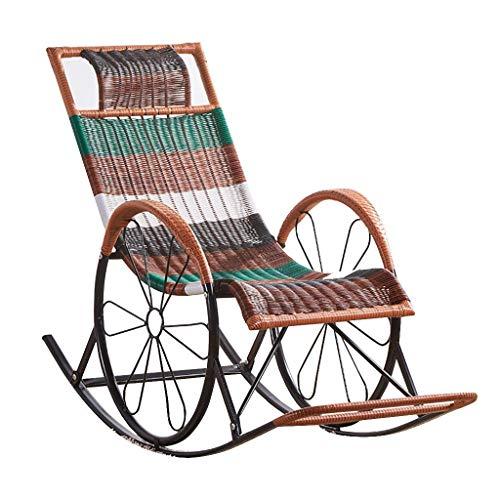 Mnjin Sillas de jardín Informales y cómodas, sillón de Mimbre, sofá Mecedora de Mimbre, sillón Relajante, Estructura de Metal con cojín de Almohada Lumbar, Patio de jardín, terraza, terraza, jardí