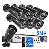 【3TB HDD】 Hiseeu 8Channel 5MP Camera Security System,4Pcs 96Ft+4Pcs 64Ft BNC Cables,8Pcs UltraHD Cameras,Phone&PC Remote Viewing,Motion Alarm,Night Vision,IP66 Waterproof,24/7 Recording,H.265