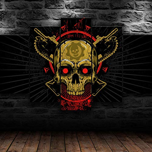 AWER 5 Piezas Imprimir Lienzo de Pintura Cráneo de Gears Of War Cuadro decoración Estilo Piasaje Pintura para Arte de Listo para Colgar en un Marco