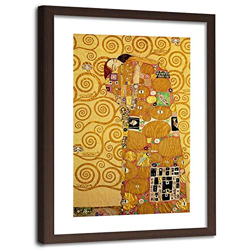 F FEEBY WALL DECOR canvas foto vrouw portret afbeelding kunstdruk gouden jurk goud Brauner rahmen 60x90 cm G