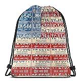 Abstract USA Nummernschilder Bunte Retro Kordelzug Taschen Sporttasche, Polyester Cinch Sack,...