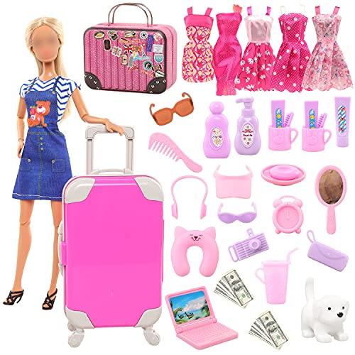 Miunana 32 Puppen Kleidung Zubehör = 1 Koffer 1 Handkoffer 2 Fashion Kleider 3 Mini Kleider 25 Zubehör für 11,5 Inch Puppen Mädchen Geschenk