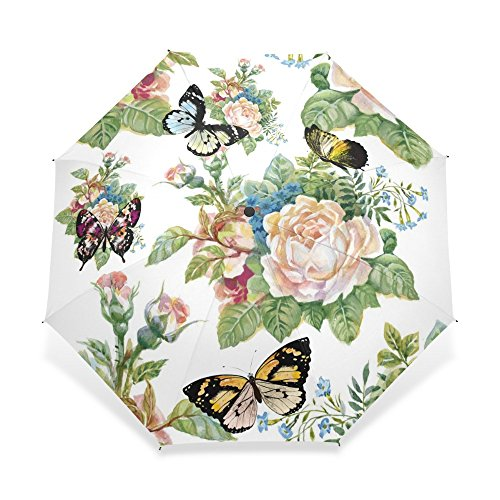 Sonnenschirm Regenschirm Vollautomatischer Schmetterlingsschirm DREI Klappbare Blumenschirme Frauen Sonnenschirm Regenschirm Regenschutz Regen