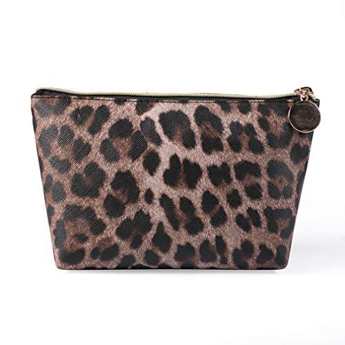 #N/A Schwenly Leopard Print Makeup Bag Soft Faux Leather Vintage Zipper Travel Cosmetic Pouch,Foncé Grand (3)