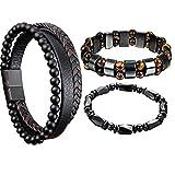Sofia's TIK Tok 3 PCS Black Magnetic Bracelet Natural Hematite Stone Jewelry, Hematite Magnetic Bracelet Men Women, Magnetic Tiger Eye Bracelets