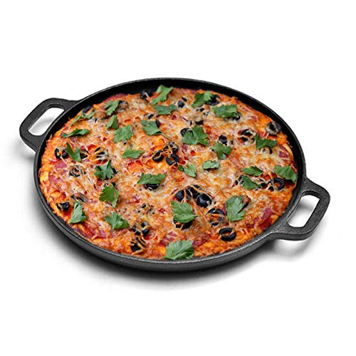Jucoan 12 Inch Cast Iron Baking Pan with Loop Handles, Round Griddle Pizza Pan, Non-Stick Skillet for Cooking, Frying, Searing and Baking