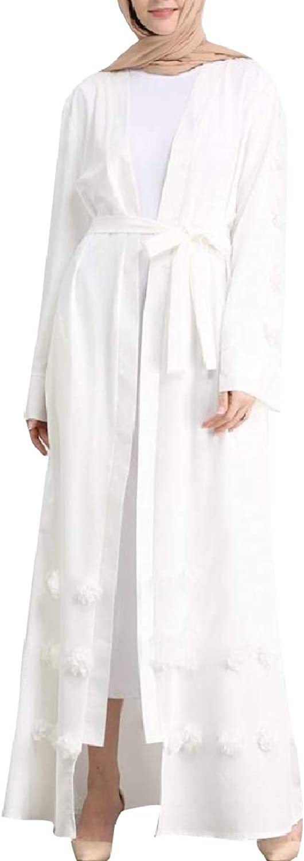 TaoNice Women Middle East Long Sleeve Islamic Belt Muslim Eid Abaya Dress
