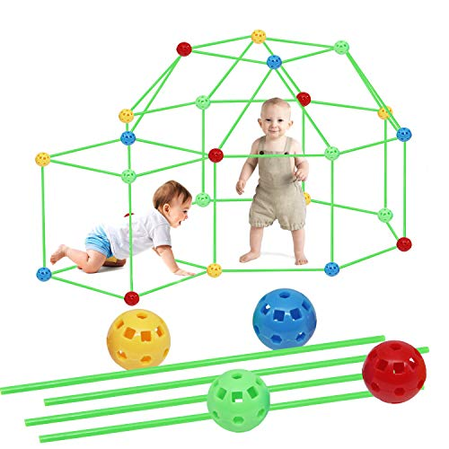 Modern Element Products Fort Building Kit,87 Pieces Flexible Construction Fort for Kids,Tunnels Play Tent Rocket Tower Indoor &Outdoor, Fun Birthday Sleepover Toy