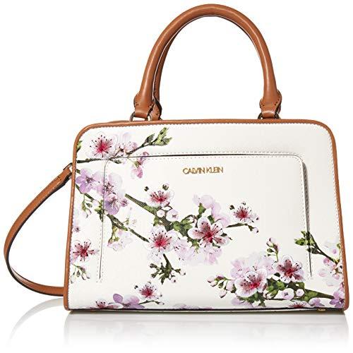 Calvin Klein Margot Textured Logo Satchel, White Cherry Blossom Emboss