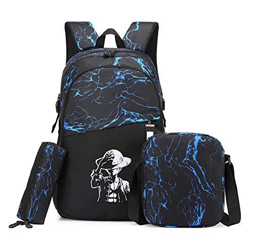 Sac à Dos Voyage Costume Trois PièCes,15 Pouces Sac à Dos Trekking Homme Femme,Nylon ImperméAble Daypacks,Adulte Fashion DéContracté Bag College Pack,Blue