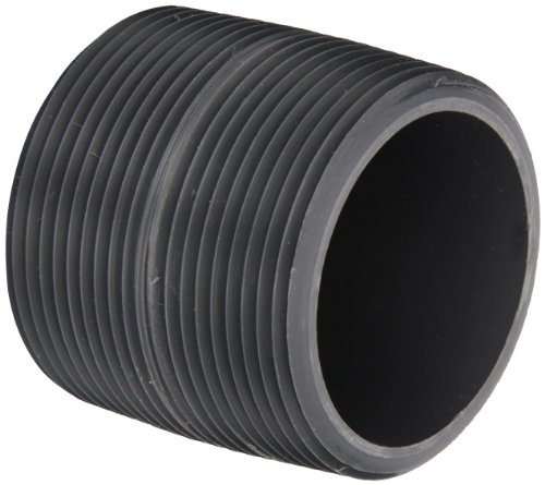 """Spears 88 Series PVC Pipe Fitting, Close Nipple, Schedule 80, Gray, 2"""" NPT Male, 2"""" Length"""