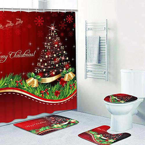 PANDAYAQ 4 Pcs Merry Christmas Shower Curtain Sets with Non-Slip Rugs, Bath Mat, Toilet Lid Cover and 12 Hooks, Xmas Tree Ball Snowflake Red Shower Curtain for Christmas Decoration